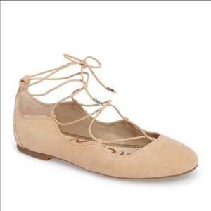 NWOB Sam Edelman Suede Flynt Laceup Ballet Flats